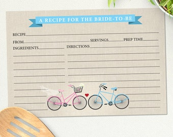 Two Bicycles Love Bridal Wedding Shower Recipe Card, Instant Download PDF