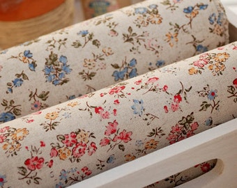145cm / 57 inch Width, Flowers in Pink / Blue Cotton Fabric, Half Yard