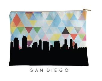 San Diego Skyline | San Diego Geometric Skyline | San Diego Purse | San Diego City Skyline | San Diego  Zipper Pouch | San Diego Pouch Blue