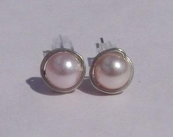 Rosaline Pearl Stud Earrings (8mm), Swarovski Pearl Stud Earrings, Wire Wrapped Sterling Silver Stud Earrings, Light Pink Stud Earrings