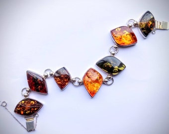 Silver Green and Cognac Baltic Amber Bracelet