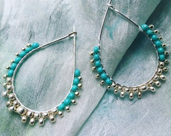 Turquoise and Silver Frilled Teardrop Earrings