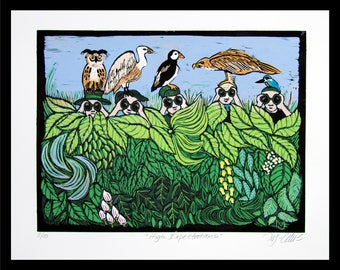 Linocut, High Expectations, bird watchers, bird print, bird watching, eagle, puffin, vulture, kingfisher, owl, printmaking, binoculars,