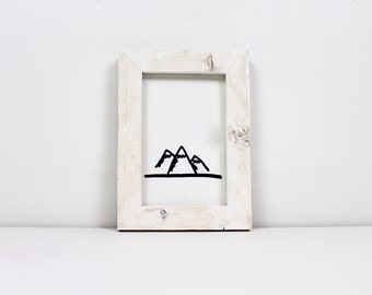 Solid Wood White Washed Rustic Picture Frame