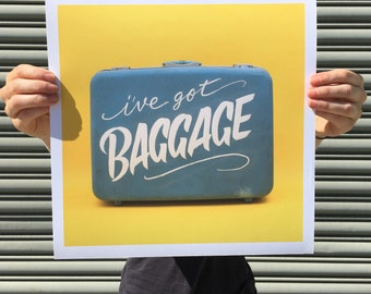 "I've Got Baggage - digital art print 12""x12"""