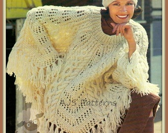 PDF Knitting Pattern for a Chunky Knit Cabled Poncho & Hat - Instant Download
