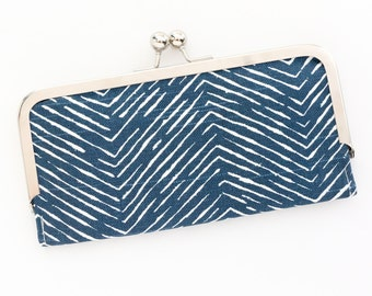 Navy Herringbone Cell Phone Wallet Clutch with Kisslock Frame Closure in Graphic Lines Printed Cotton