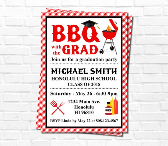 BBQ Invitation Graduation Party Barbeque Cookout