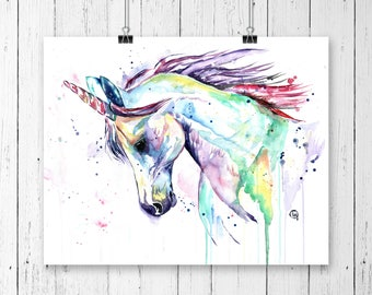 UNICORN PRINT, Unicorn print, little girls room, nursery art, princess decor, princess nursery, unicorn nursery,fairy tale art, unicorn gift
