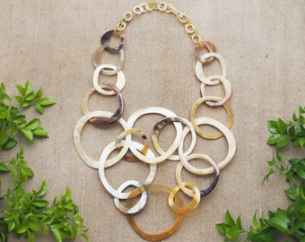 Natural Buffalo Horn Tangled Necklace Jewelry