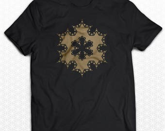 Koch Snowflake Crop Circle Sacred Geometry Tshirt