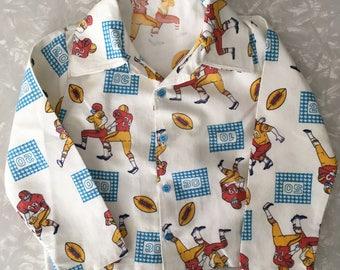 Kids Flannel Pajamas Set Vintage Football PJs