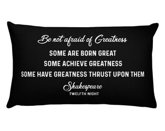 Shakespeare Pillow With Sayings Words Quote Decor, Graduation Inspirational Verse, Teenager Room Daughter Son Gift, Sofa Cushion Black White