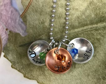 Hand stamped children names birthstones mother's necklace with kids names • family names • pet names • personalized • mother daughter gifts