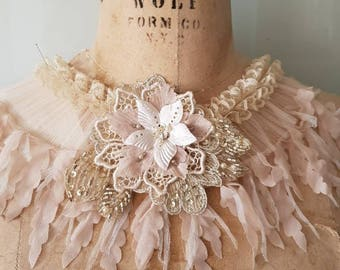 Fringe statement necklace. Applique headband  Tulle lace necklace. Beaded