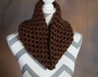 Brown Super Chunky Crochet Cowl