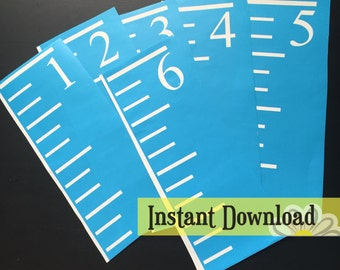 Growth Chart Ruler Stencil File - SVG/JPG/PDF Cut File - Instant Download - perfect for vinyl and stencils