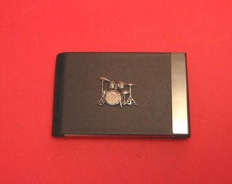 Drum Kit Design Black PU Leather Card Holder With Hand Cast Pewter Motif Music Teacher Drummer Gift