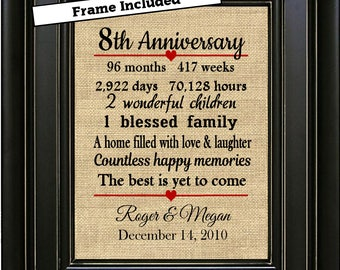FRAMED 8th Wedding Anniversary Gift/8th Anniversary Gifts/8 years of Marriage/Wife gift/Husband gift/Bronze Anniversary Gifts/Burlap Print