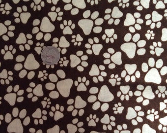 Paw print flannel, brown flannel fabric, dog fabric