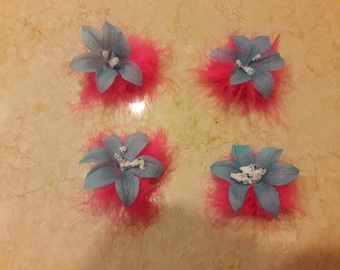 Blue Flower Barrette with Pink Marabou