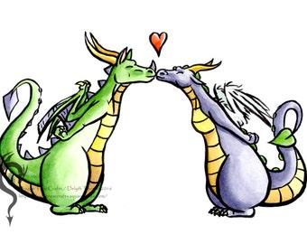 Dragon Smooch - A6 Fantasy Card