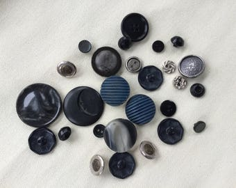 Vintage Buttons Lot - Navy/Black- Button Bib Necklace Lot - 025
