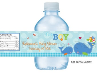 Ahoy It's A Boy Whale Water Bottle Labels DIY Printable