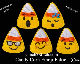 "Halloween Candy Corn Emoji Feltie / Slider - In The Hoop - Machine Embroidery Design Download (4""x4"" Hoop)"