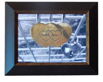 Custom photo, entwined hearts on a padlock
