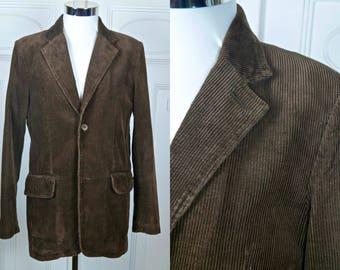 Brown Corduroy Blazer, Dutch Vintage Single-Breasted Chocolate Brown Cotton Cord Sports Coat Jacket: Size Medium, 38 US/UK