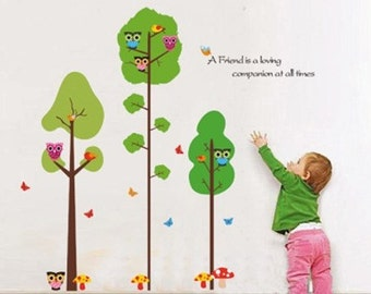 Three Trees and little owls wall sticker / wall decal - AW7163