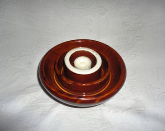 Vintage Insulator Large Pottery Candle Votive Holder Brown White Home Decor