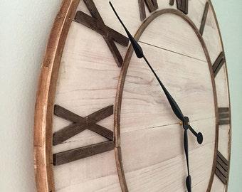 """Farmhouse Wall Clock, 26"""" Shabby Chic Clock, Wall clocks, farmhouse clock, Large Wall Clock, Rustic Wall Clock, Hand Made Wall Clock"""