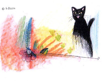 Kitty's Retreat..  The Window - My Kittys View - Miniature Art Card, ACEO, Print of Original Pastel by Linda Beers Aydlott...signed/dated