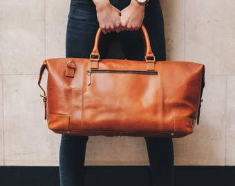 Leather weekender Bag holdall duffel overnight cabin luggage travel bag for men and women - Niche Lane Aviator Tan