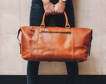 Leather holdall weekender Bag duffel overnight cabin luggage travel bag for men and women - Niche Lane Aviator Tan