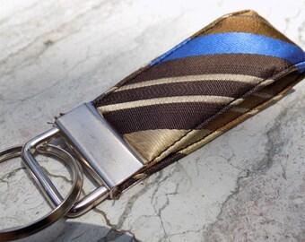 Striped Upcycled Silk Necktie Mini Key Fob. Gifts for Him Under 5 Stocking Stuffer Handmade Keychain Teen Teacher Coworker Ring Chain Keys