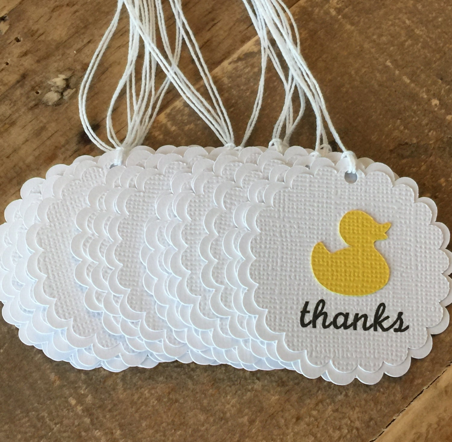 Rubber Duck Baby shower thank you tags Yellow baby shower