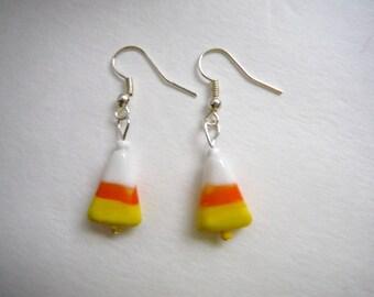 Candy corn earrings,sweet candy earrings, orange and yellow earrings, fall color earrings...