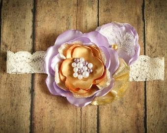 Lavender and Gold Satin Flower Headband