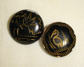 Japanned Brass Picture Buttons - 2 Lacquered tole Buttons with Birds