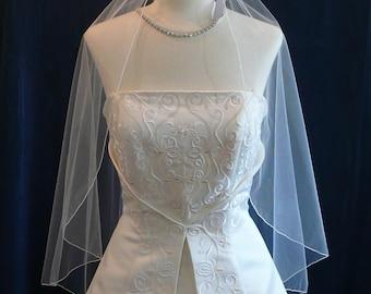 Bridal Veil Wedding Veil Elbow Length Angel Cut with delicate Pencil Edge