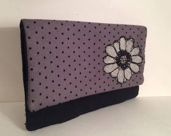 Gray and black Fold over Clutch