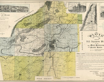 Poster, Many Sizes Available; Map Of Floyd County Georgia 1895