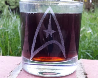 Hand etched mixer glass inspired by Star Trek