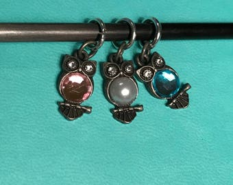 Little Owl stitch markers (set of 3)