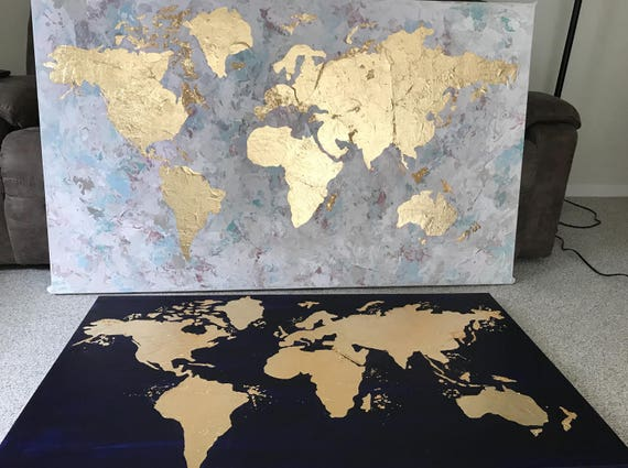 World map canvas map of the world gold leaf painting world world map canvas map of the world gold leaf painting world map wall art office wall art gold foil art large world map gold leaf art gumiabroncs Gallery