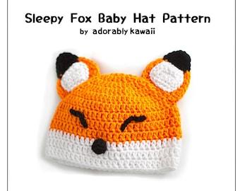 Sleepy Fox Baby Hat Pattern, Crochet Baby Hat, Fox Baby Beanie, Baby Fox Pattern, Cute Animal Hat, Sleepy Fox Pattern, DIY Cute Fox Baby Hat