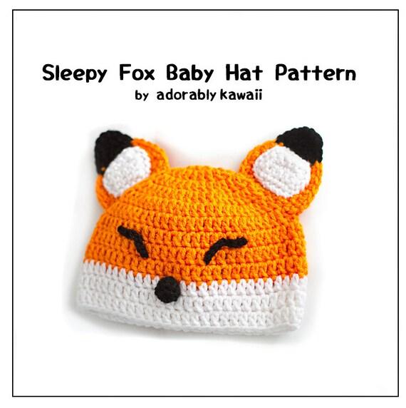 Sleepy Fox Baby Hat Pattern, Crochet Baby Hat, Fox Baby Beanie, Baby ...